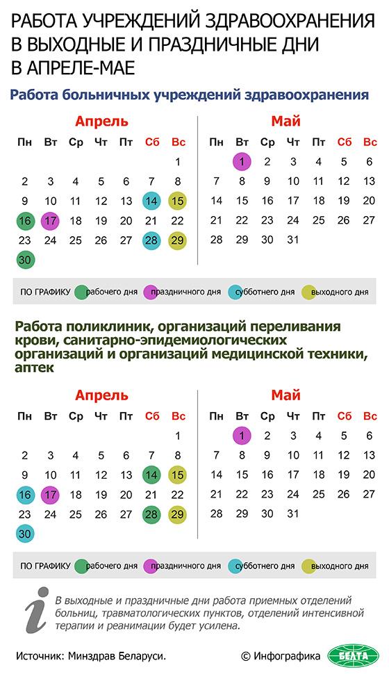 Работа учреждений здравоохранения в выходные и праздничные дни в апреле-мае