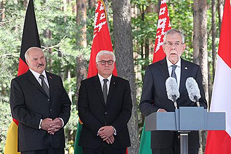Тема недели: Лукашенко с президентами Германии и Австрии посетил мемориальный комплекс «Тростенец»